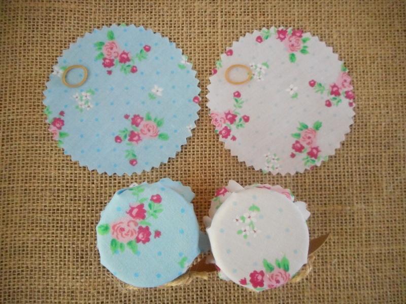 Pk/50 Floral Fabric Jar 9cm Lid Covers Blue & White DIY Jam Honey Favours Vintage Wedding