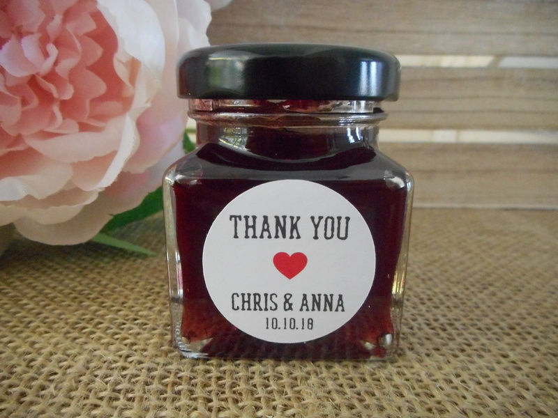 Round Rustic White Thank you Labels Red Heart Personalised Stickers