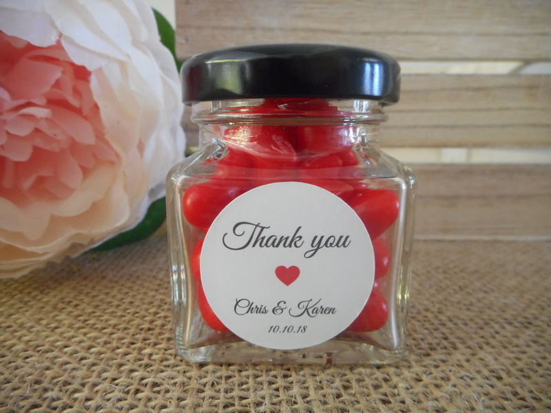 Round Elegant White Thank you Labels Red Heart Personalised Stickers