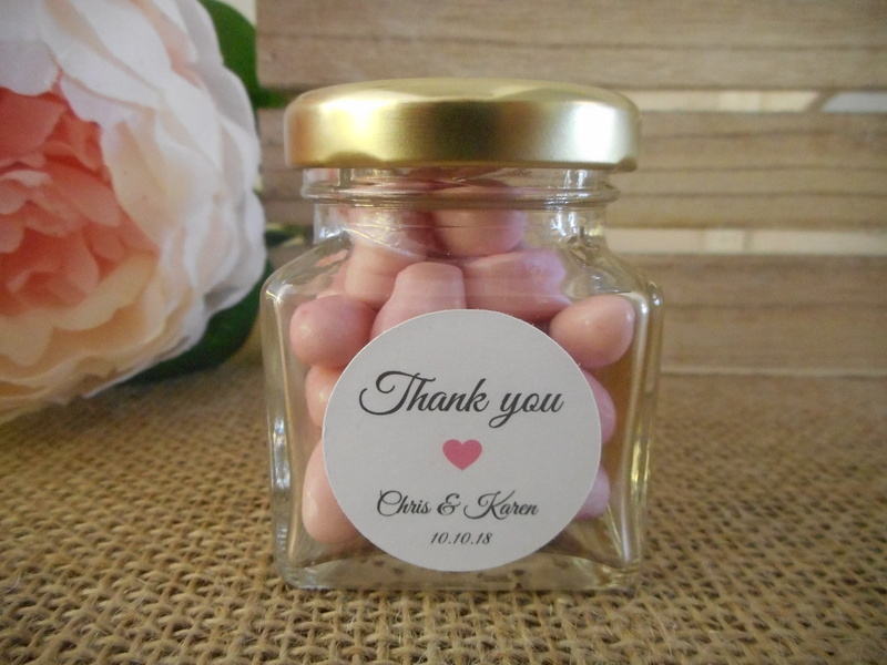 Round Elegant White Thank you Labels Light Pink Heart Personalised Stickers