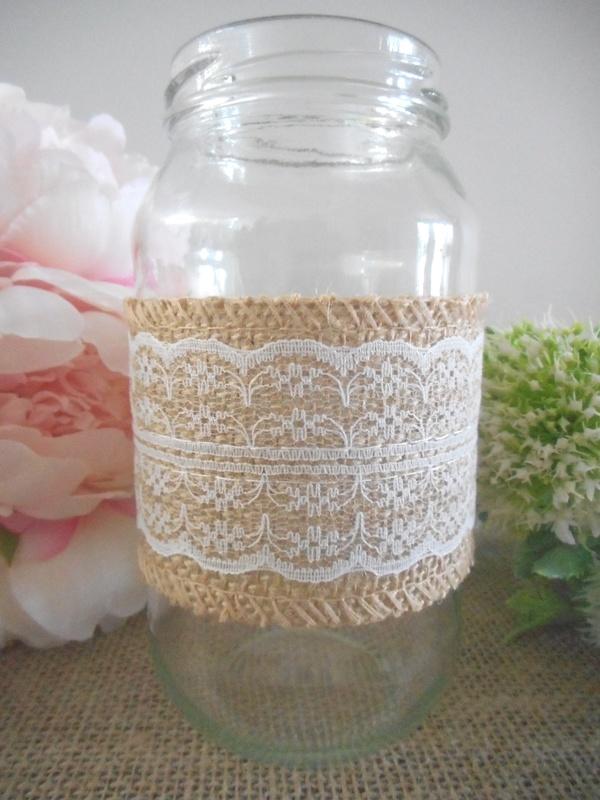 60mm x 2m Hessian Lace Centre Ribbon Rustic Vintage Wedding Decor