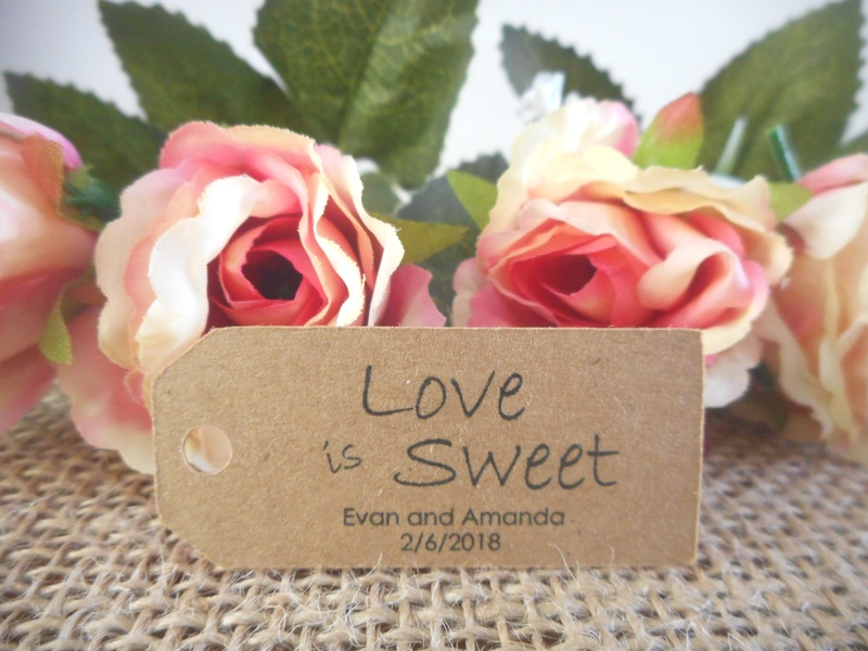 Kraft Love is Sweet Mini Rectangle Tags Personalised