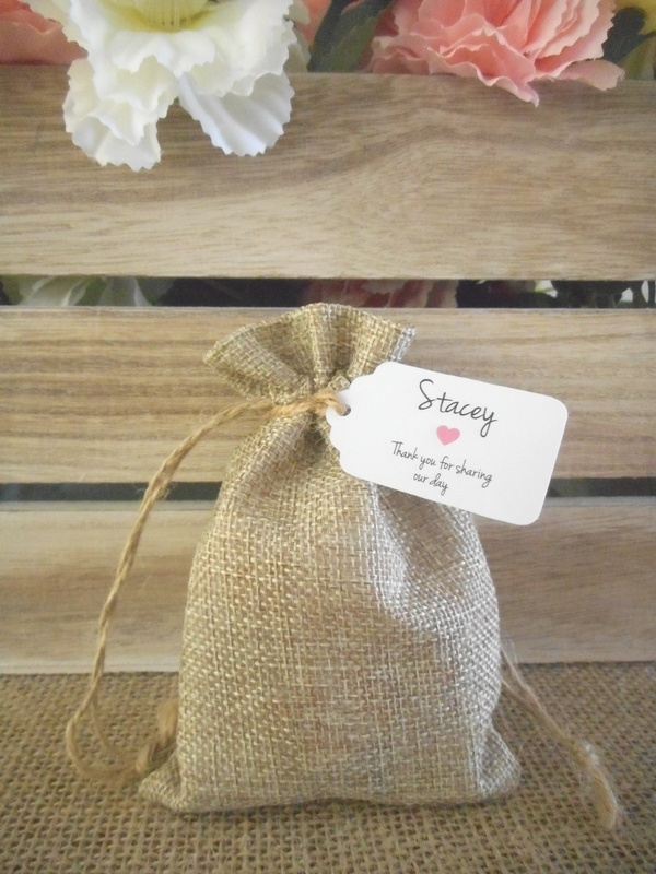 Small Hessian Favour Bags Rustic Vintage Wedding Bomboniere