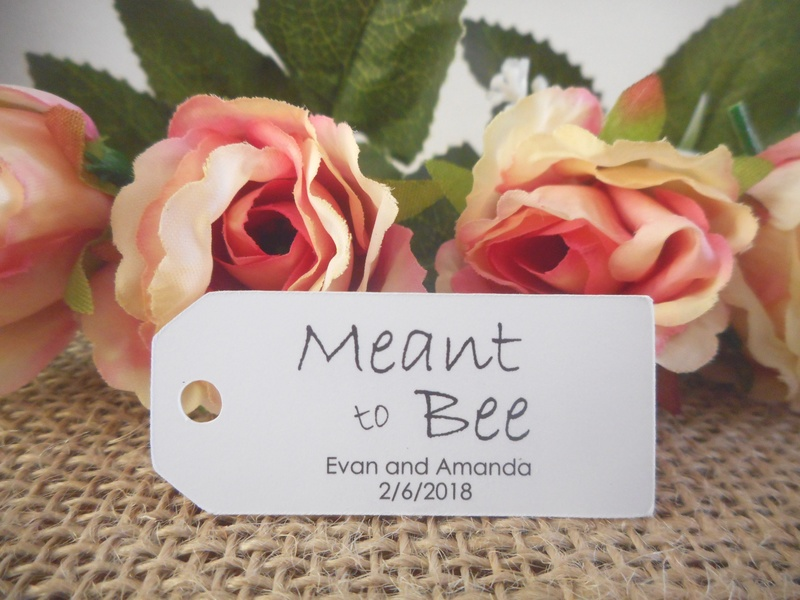 White Meant to Bee Mini Rectangle Tags Personalised