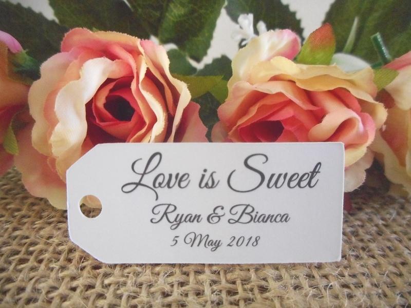 White Elegant Love is Sweet Mini Rectangle Tags Personalised