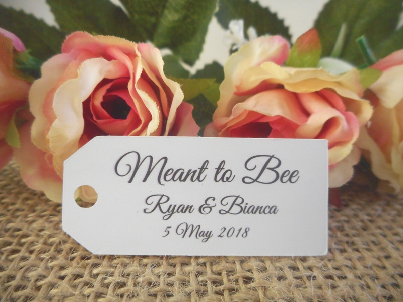 White Elegant Meant to Bee Mini Rectangle Tags Personalised