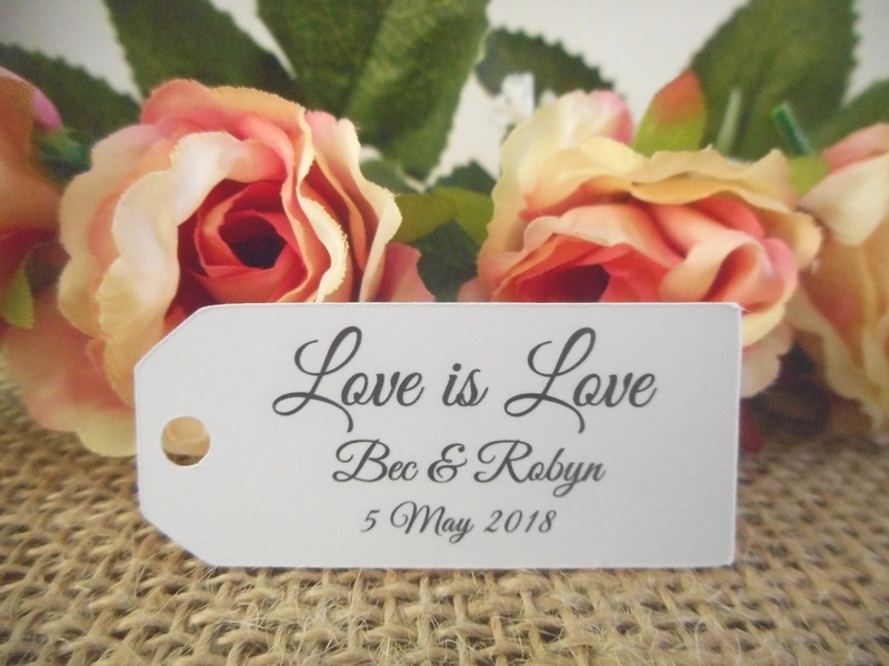 White Elegant Love is Love Mini Rectangle Tags Personalised Same Sex Wedding