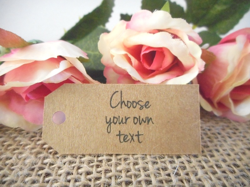 Choose your own text Kraft Mini Rectangle Tags Personalised (4 font styles)