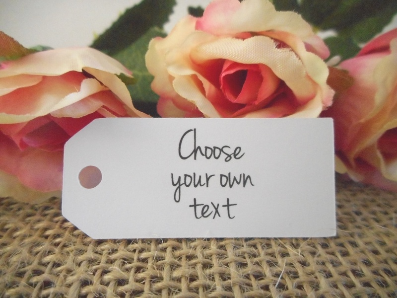 Choose your own text White Mini Rectangle Tags Personalised (4 font styles)