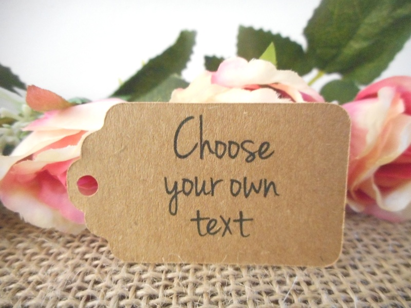 Choose your own text Kraft Small Rectangle Tags Personalised (4 font styles)