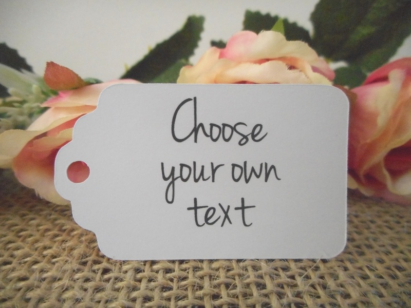 Choose your own text White Small Rectangle Tags Personalised (4 font styles)