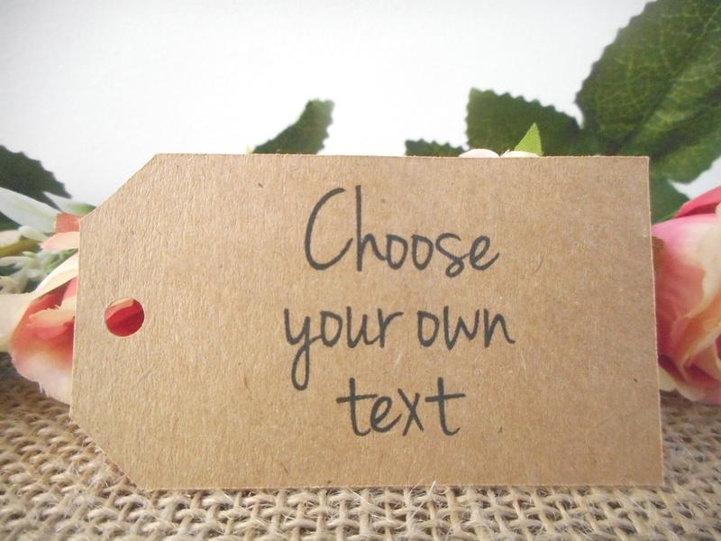 Choose your own text Kraft Medium Rectangle Tags Personalised (4 font styles)