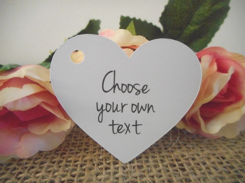 Choose your own Text White Heart Tags Personalised (4 font styles)