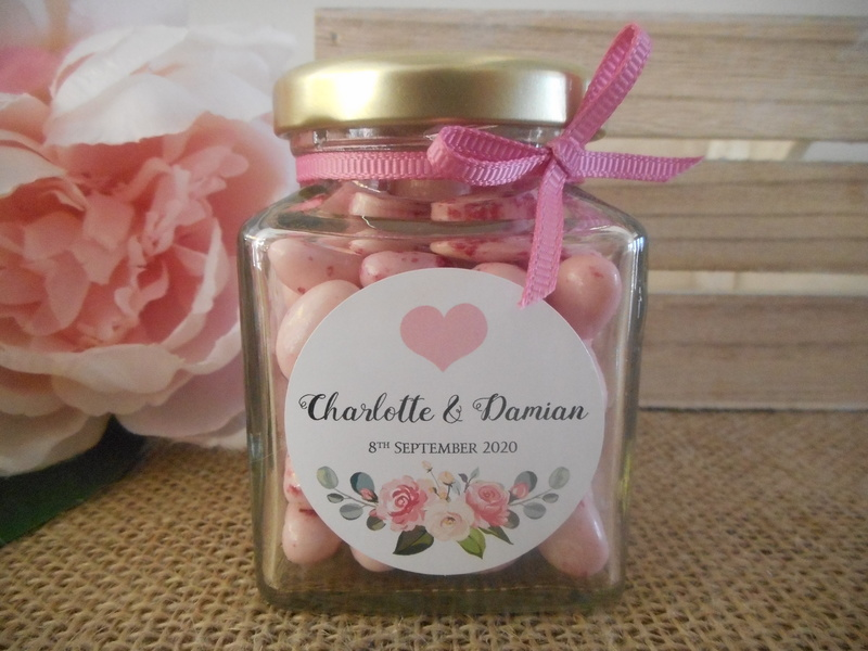 Round White Labels Pink Heart Floral Vintage Wedding Personalised Stickers