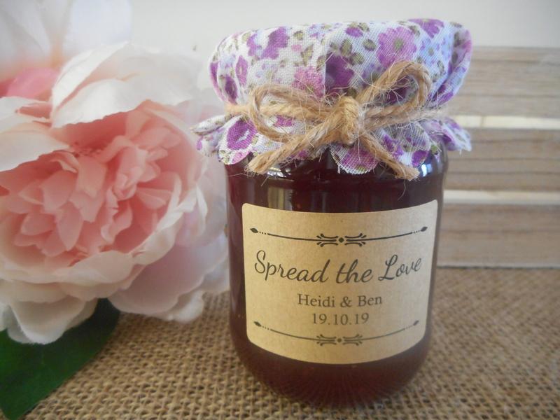 Spread the Love Jam Honey Jar Rectangle Kraft Labels Personalised Stickers Wedding 50x35mm