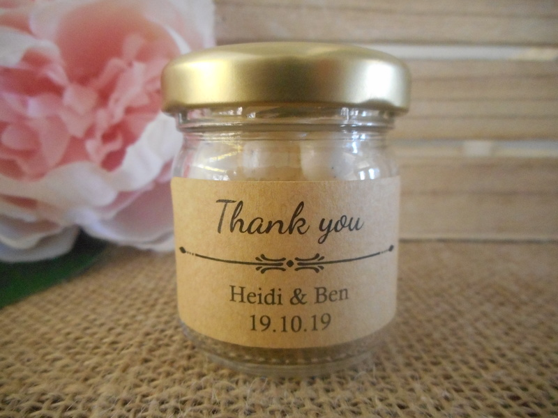 Thank you Rectangle Kraft Labels Personalised Stickers Rustic Vintage Wedding 50x25mm