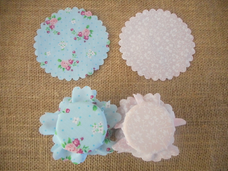 Pk/40 Floral Fabric Jar 11cm Lid Covers Blue & Pink DIY Jam Honey Favours Vintage Wedding