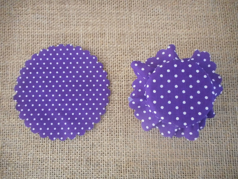Pk/25 Purple Polka Dot Fabric Jar 11cm Lid Covers DIY Jam Honey Favours Vintage Wedding
