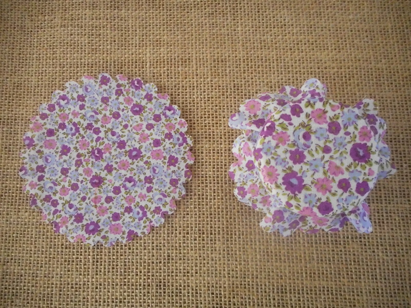 Pk/25 Floral Fabric Jar 11cm Lid Covers Pretty Mauves DIY Jam Honey Favours Vintage Wedding