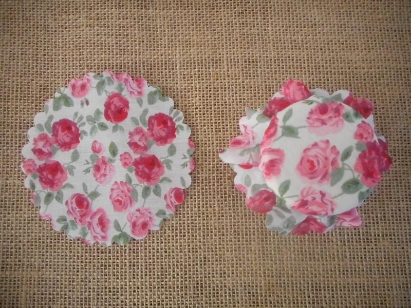 Pk/25 Floral Fabric Jar 11cm Lid Covers Rose Pink DIY Jam Honey Favours Vintage Wedding