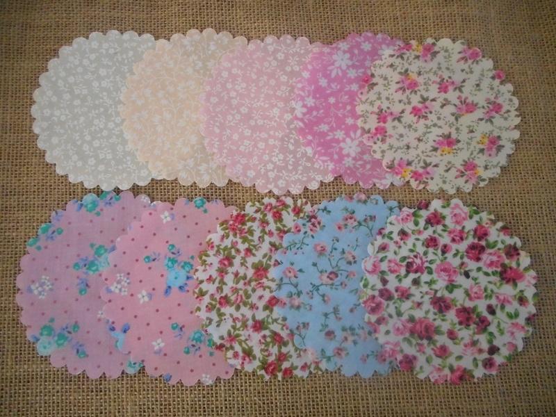 Pk/10 Fabric Jar 11cm Lid Covers Mixed Patterns DIY Jam Honey Favours Vintage Bridal Shower