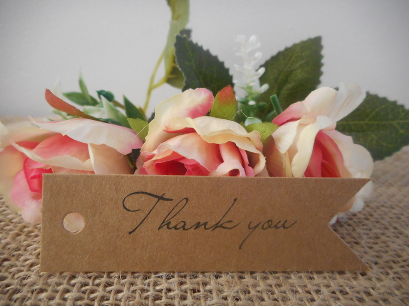 Kraft Vintage Rectangle Thank you Tags (Ready Made) Wedding