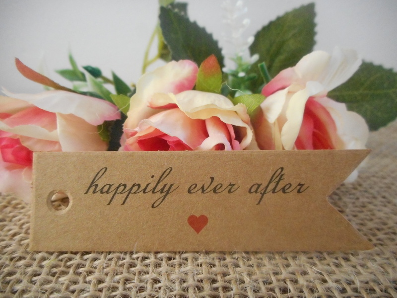 Kraft Vintage Rectangle Happily Ever After Tags Red Heart (Ready Made) Wedding