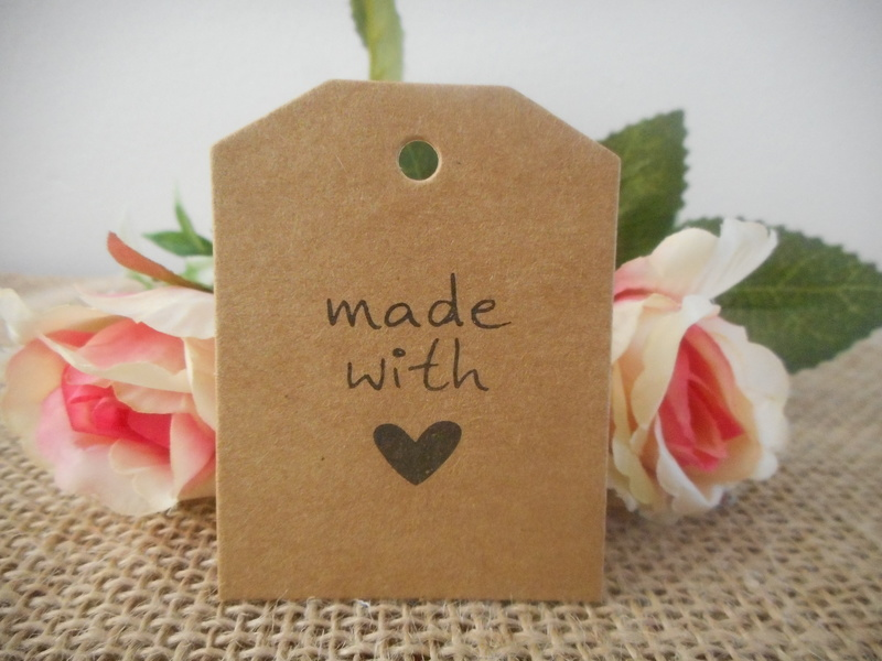 Kraft Vintage Rectangle Made with Love Tags (Ready Made) Wedding