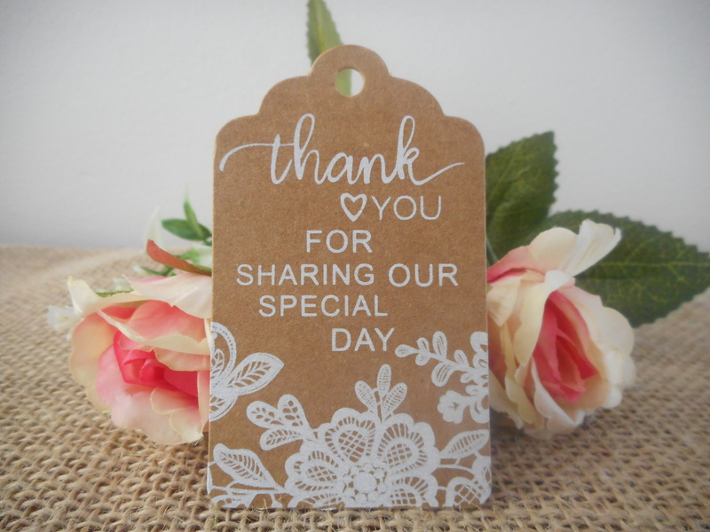 Kraft Rustic White Lace Rectangle Thank you for sharing Tags (Ready Made) Wedding
