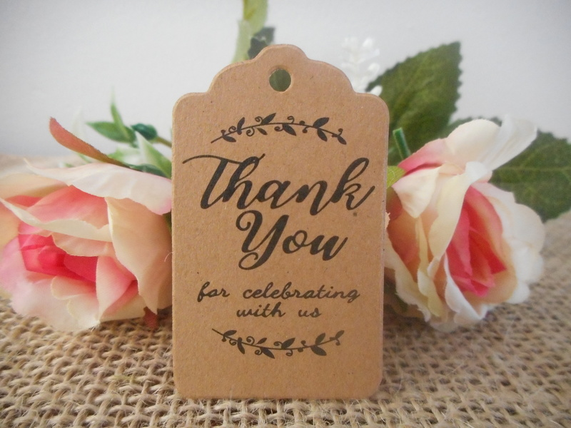 Kraft Rustic Vintage Rectangle Thank you for celebrating Tags (Ready Made) Wedding