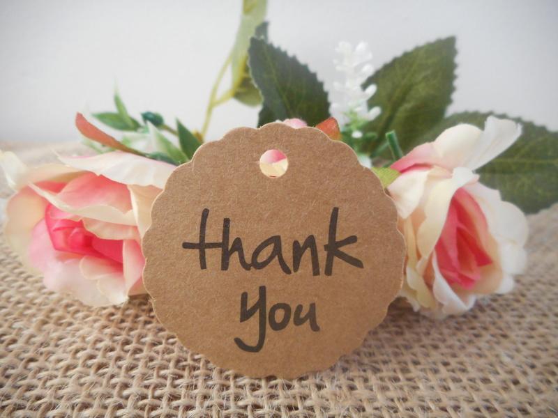 Kraft Rustic Round Curvy Thank you Tags (Ready Made) Wedding