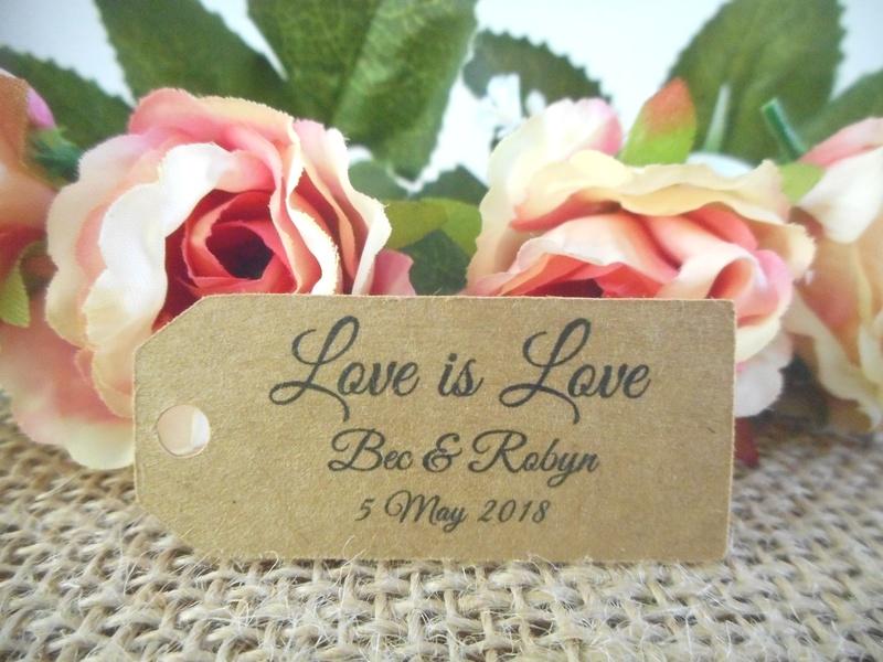 Kraft Elegant Love is Love Mini Rectangle Tags Personalised Same Sex Wedding