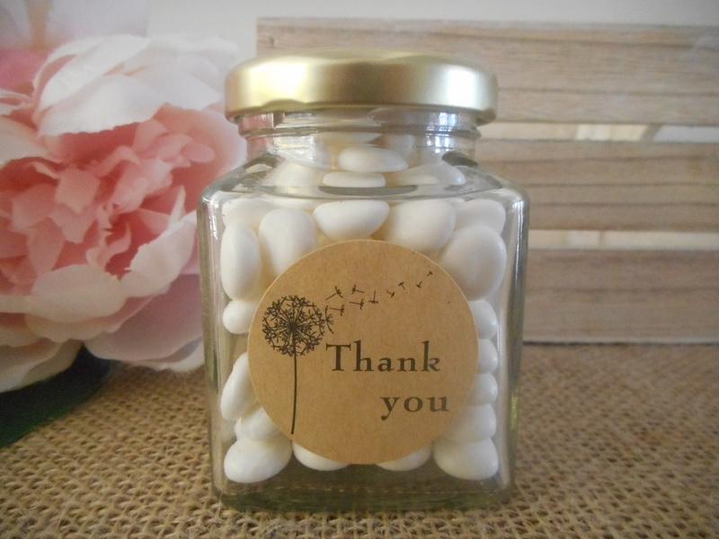 Round Rustic Kraft Thank You Labels Stickers Wedding Baby Shower