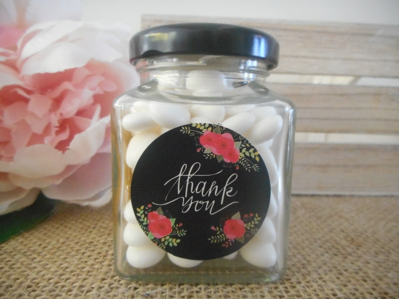 Black Floral Thank you Labels Stickers (Ready Made) Vintage Wedding