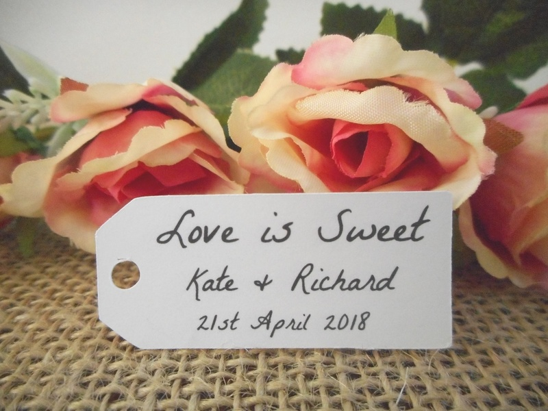 White Rustic Love is Sweet Mini Rectangle Tags Personalised