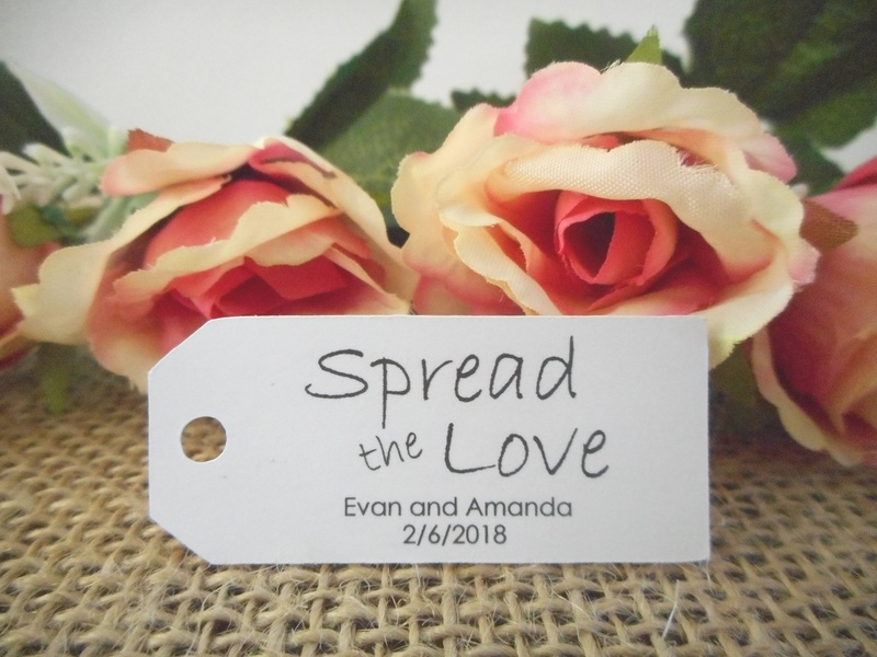 White Spread the Love Mini Rectangle Tags Personalised