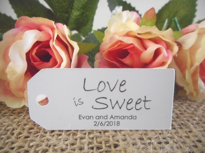 White Love is Sweet Mini Rectangle Tags Personalised
