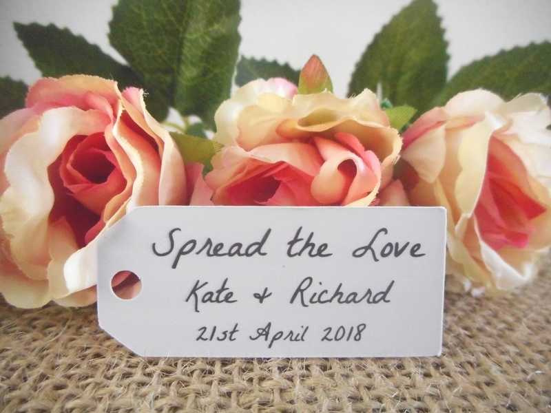 White Rustic Spread the Love Mini Rectangle Tags Personalised