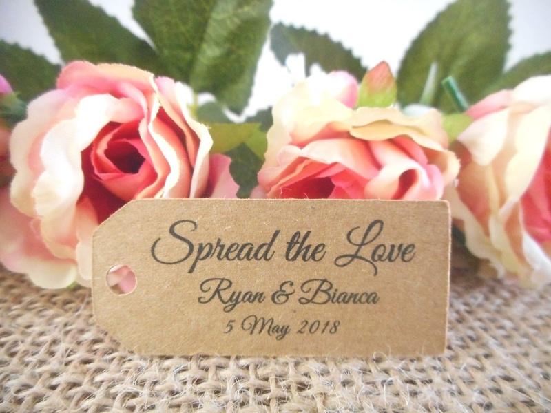 Kraft Elegant Spread the Love Mini Rectangle Tags Personalised