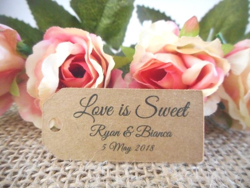 Kraft Elegant Love is Sweet Mini Rectangle Tags Personalised