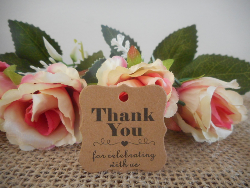 Kraft Rustic Vintage Curvy Square Thank you for celebrating Tags (Ready Made) Wedding