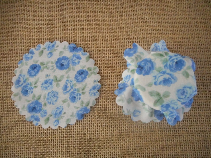 Pk/50 Floral Fabric Jar 11cm Lid Covers Blue & White DIY Jam Honey Favours Vintage Wedding