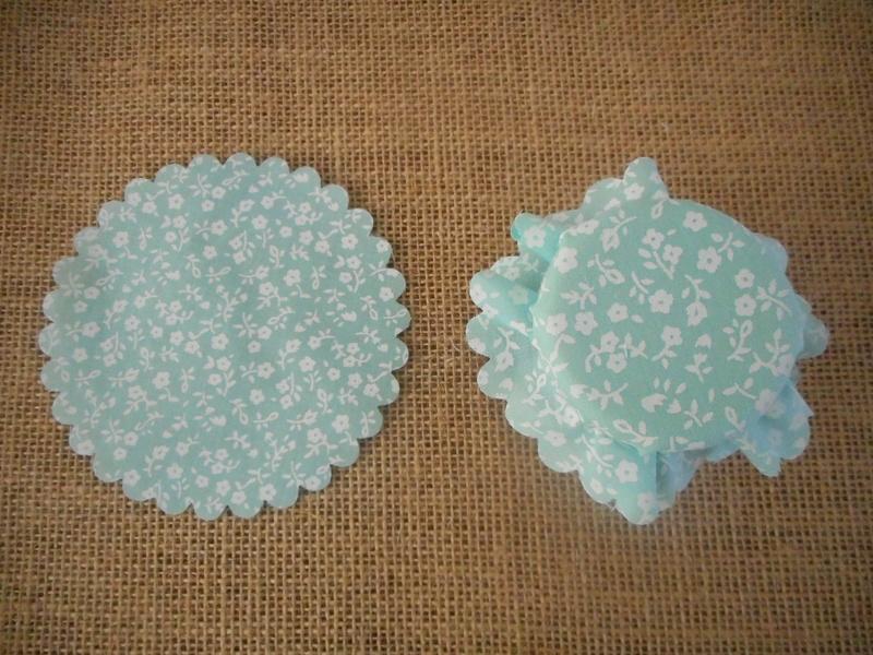 Pk/25 Floral Fabric Jar 11cm Lid Covers Mint DIY Jam Honey Favours Vintage Wedding