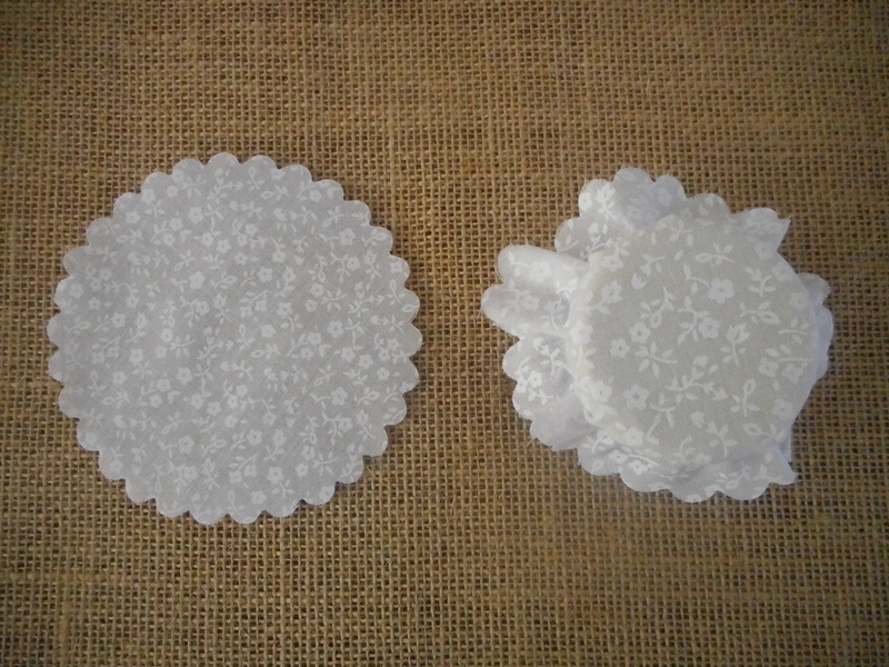 Pk/25 Floral Fabric Jar 11cm Lid Covers White DIY Jam Honey Favours Vintage Wedding