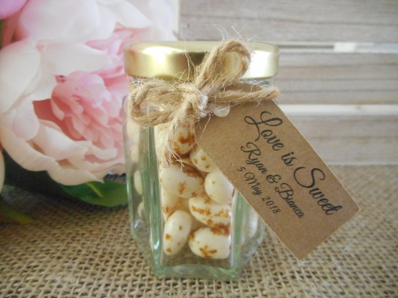 55ml Small Hexagonal Glass Jars Wedding Favours Bomboniere Jam Honey Lolly