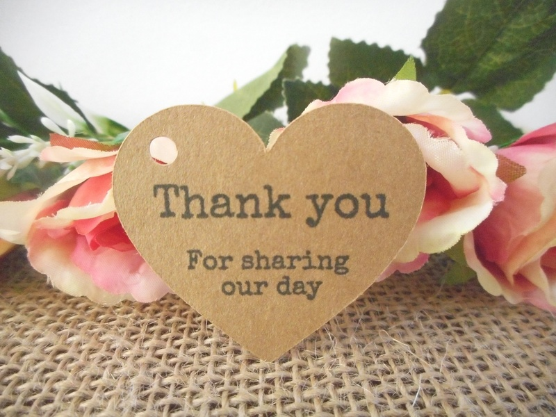 Kraft Vintage Heart Tags Thank you for sharing our day