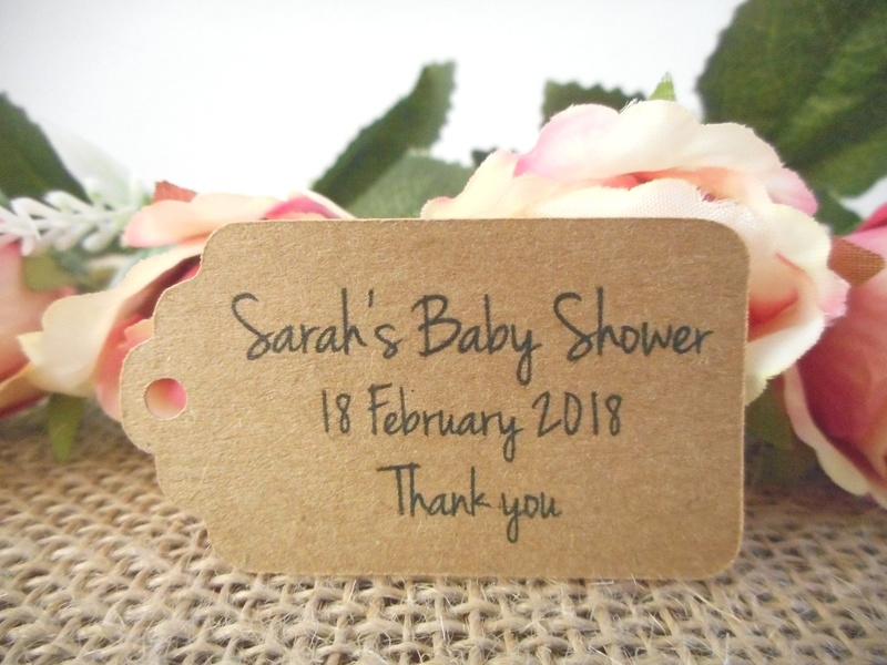 Kraft Rustic Baby Shower Small Rectangle Tags Personalised
