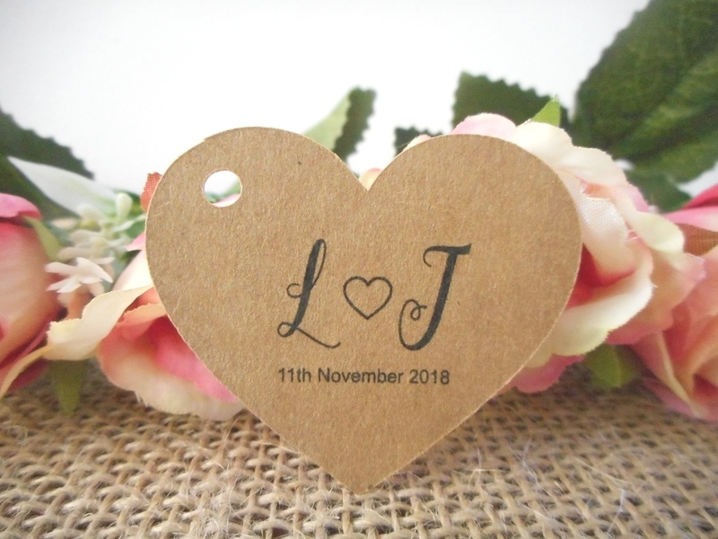 Pk/10 Kraft Wedding Initials Heart Tags Personalised