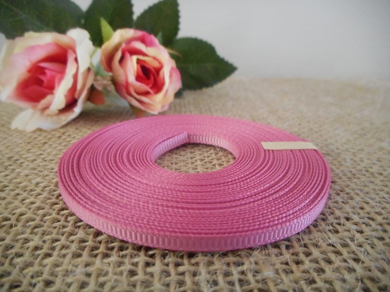 3mm x 9m Rose Pink Grosgrain Ribbon Wedding Christening Bomboniere