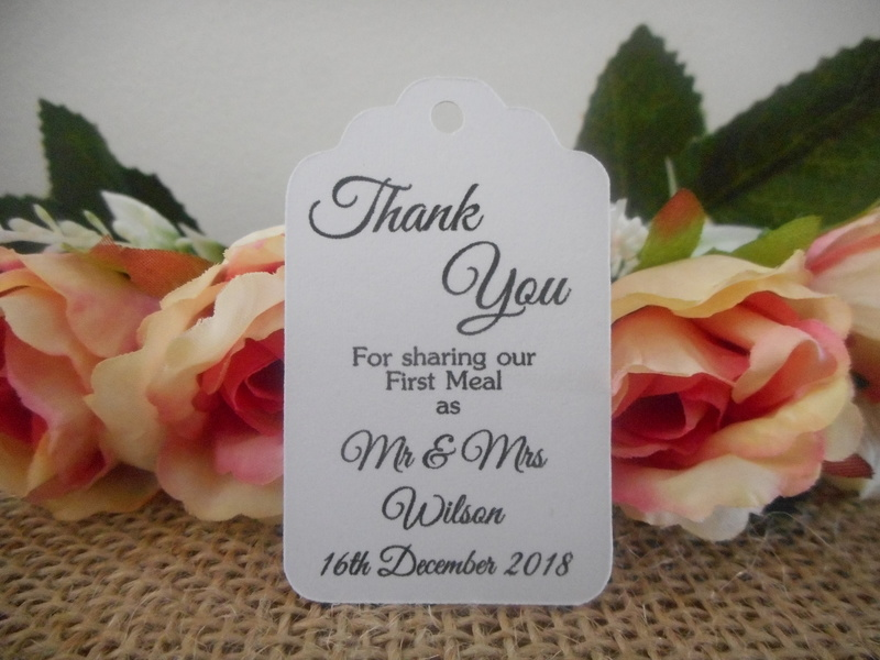 White Elegant Thank You Mr & Mrs Small Rectangle Tags Personalised